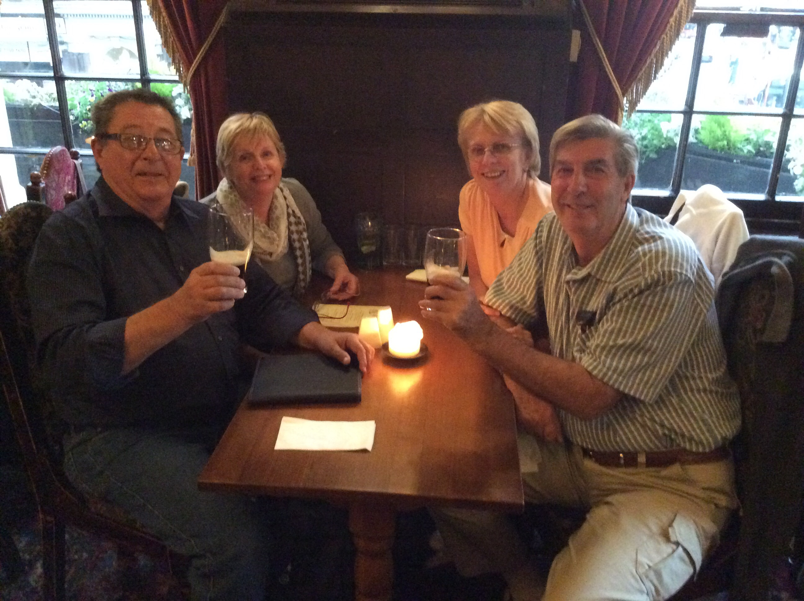 Max & Robyn Winter having a Guinness with Maurie & Bernice Graham after meeting up in London.