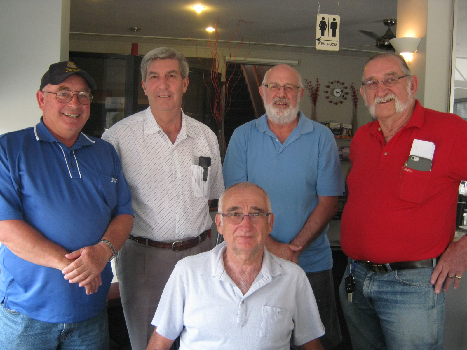 L-R Greg Amos, Maurie Graham, John Green, Dan Dubeld & Mitch Mitchell enjoying a mini get together in Tassie.